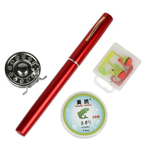 Mini Rod Ice Rod And Fly Reel Combos Telescopic Pen Fishing Pole Extended Length-Ice Fishing Rod & Reel Combos-Bargain Bait Box-Red-Bargain Bait Box