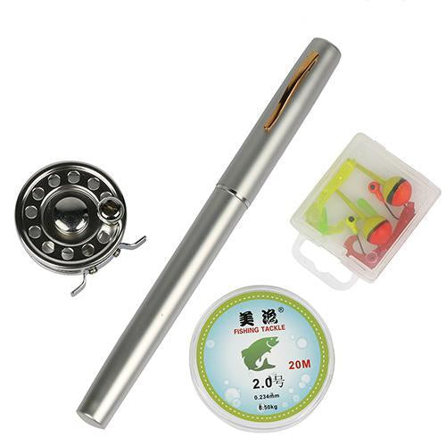 Mini Rod Ice Rod And Fly Reel Combos Telescopic Pen Fishing Pole Extended Length-Ice Fishing Rod & Reel Combos-Bargain Bait Box-White-Bargain Bait Box