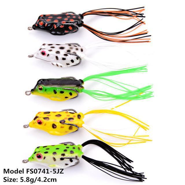 Mixed Set 5.8G-13.81G Classic Frog/Mouse Soft Fishing Lure Crank Bait Bass-Xiamen Smith Industry Co,. Ltd-5pcs FS0741-Bargain Bait Box