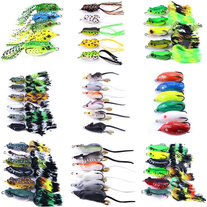 Mixed Set 5.8G-13.81G Classic Frog/Mouse Soft Fishing Lure Crank Bait Bass-Xiamen Smith Industry Co,. Ltd-5pcs FSA30-Bargain Bait Box