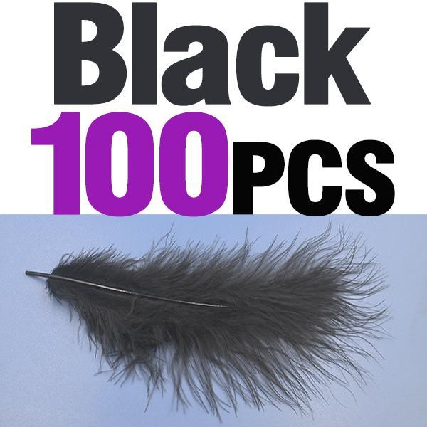 Mnft 100Pcs 10 Colors Marabou Feathers Various Colours Available Fly Tying-Fly Tying Materials-Bargain Bait Box-100pcs black-Bargain Bait Box