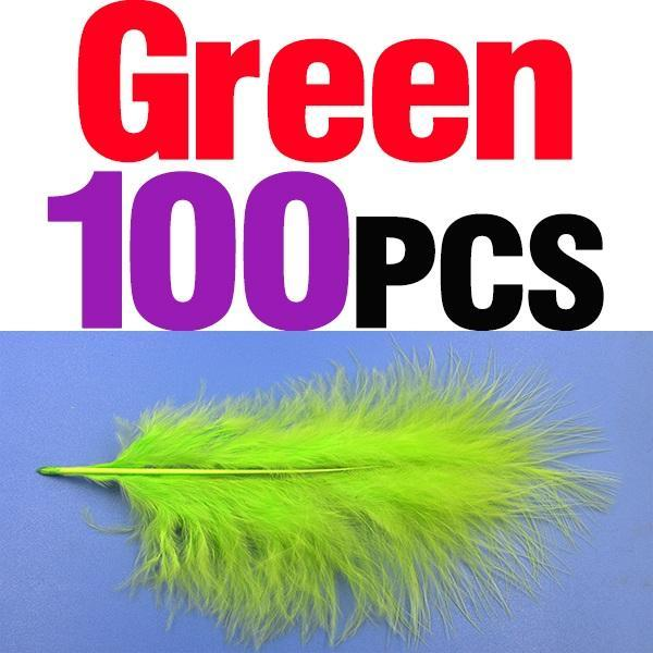 Mnft 100Pcs 10 Colors Marabou Feathers Various Colours Available Fly Tying-Fly Tying Materials-Bargain Bait Box-100pcs green-Bargain Bait Box