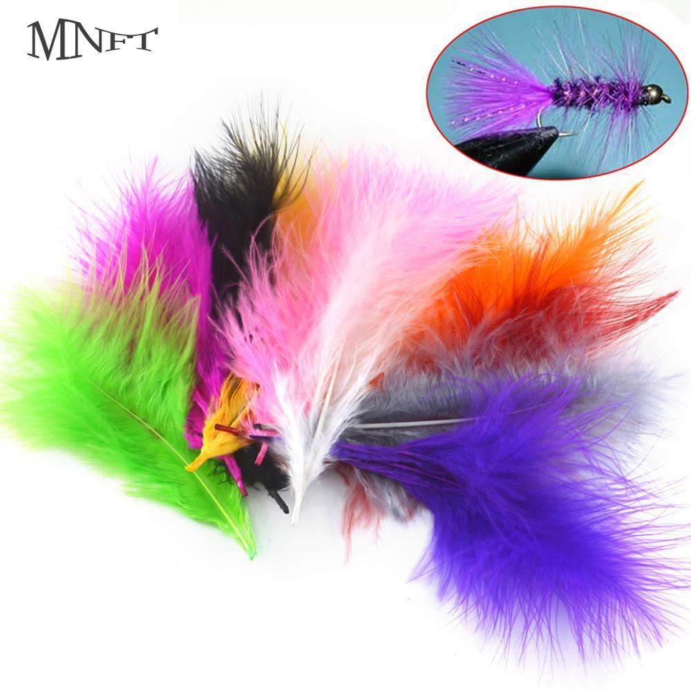 Mnft 100Pcs 10 Colors Marabou Feathers Various Colours Available Fly Tying-Fly Tying Materials-Bargain Bait Box-100pcs grey-Bargain Bait Box