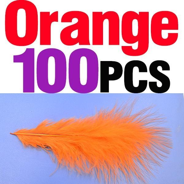 Mnft 100Pcs 10 Colors Marabou Feathers Various Colours Available Fly Tying-Fly Tying Materials-Bargain Bait Box-100pcs orange-Bargain Bait Box