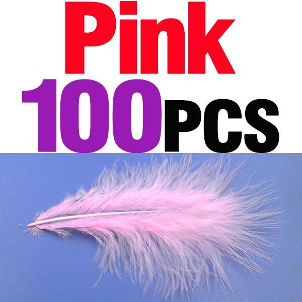 Mnft 100Pcs 10 Colors Marabou Feathers Various Colours Available Fly Tying-Fly Tying Materials-Bargain Bait Box-100pcs pink-Bargain Bait Box