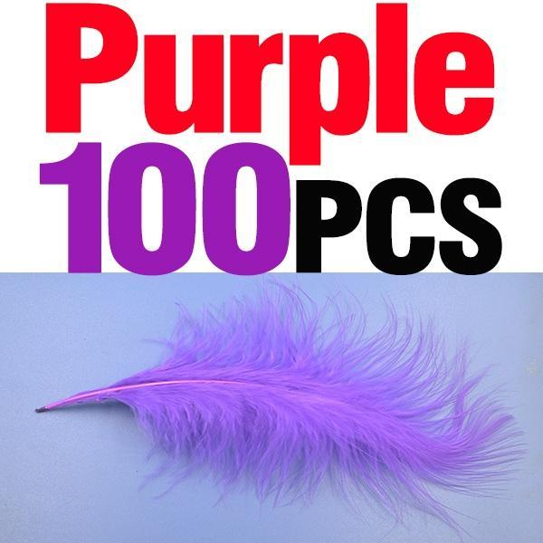 Mnft 100Pcs 10 Colors Marabou Feathers Various Colours Available Fly Tying-Fly Tying Materials-Bargain Bait Box-100pcs purple-Bargain Bait Box