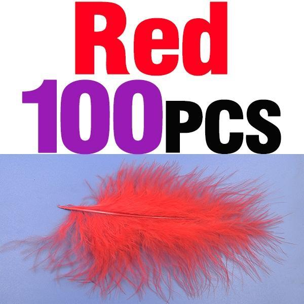 Mnft 100Pcs 10 Colors Marabou Feathers Various Colours Available Fly Tying-Fly Tying Materials-Bargain Bait Box-100pcs red-Bargain Bait Box