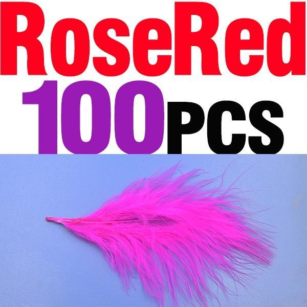 Mnft 100Pcs 10 Colors Marabou Feathers Various Colours Available Fly Tying-Fly Tying Materials-Bargain Bait Box-100pcs rose red-Bargain Bait Box