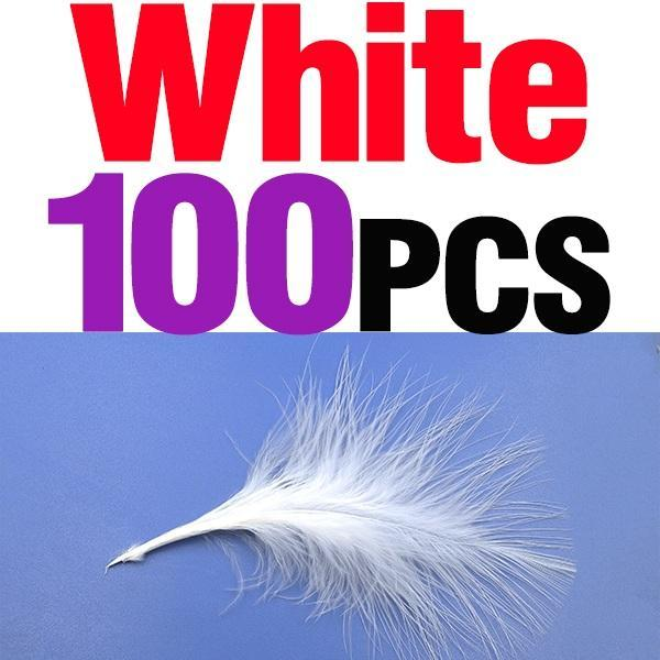 Mnft 100Pcs 10 Colors Marabou Feathers Various Colours Available Fly Tying-Fly Tying Materials-Bargain Bait Box-100pcs white-Bargain Bait Box