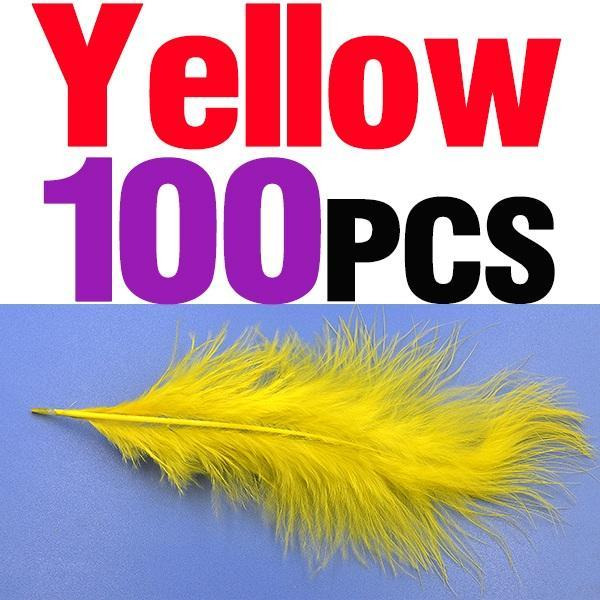 Mnft 100Pcs 10 Colors Marabou Feathers Various Colours Available Fly Tying-Fly Tying Materials-Bargain Bait Box-100pcs yellow-Bargain Bait Box