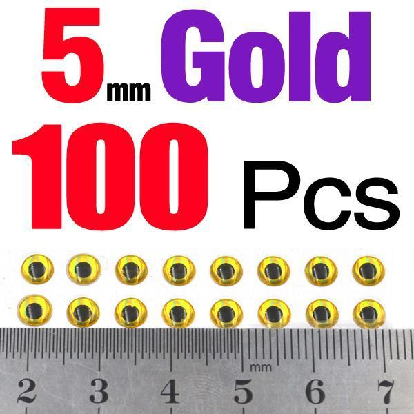 Mnft 100Pcs/Lot 3Mm 4Mm 5Mm 3D Holographic Fishing Lure Eye Fly Tying,Lure Baits-MNFT Fishing Tackle 12 Store-5mm Gold 100pcs-Bargain Bait Box