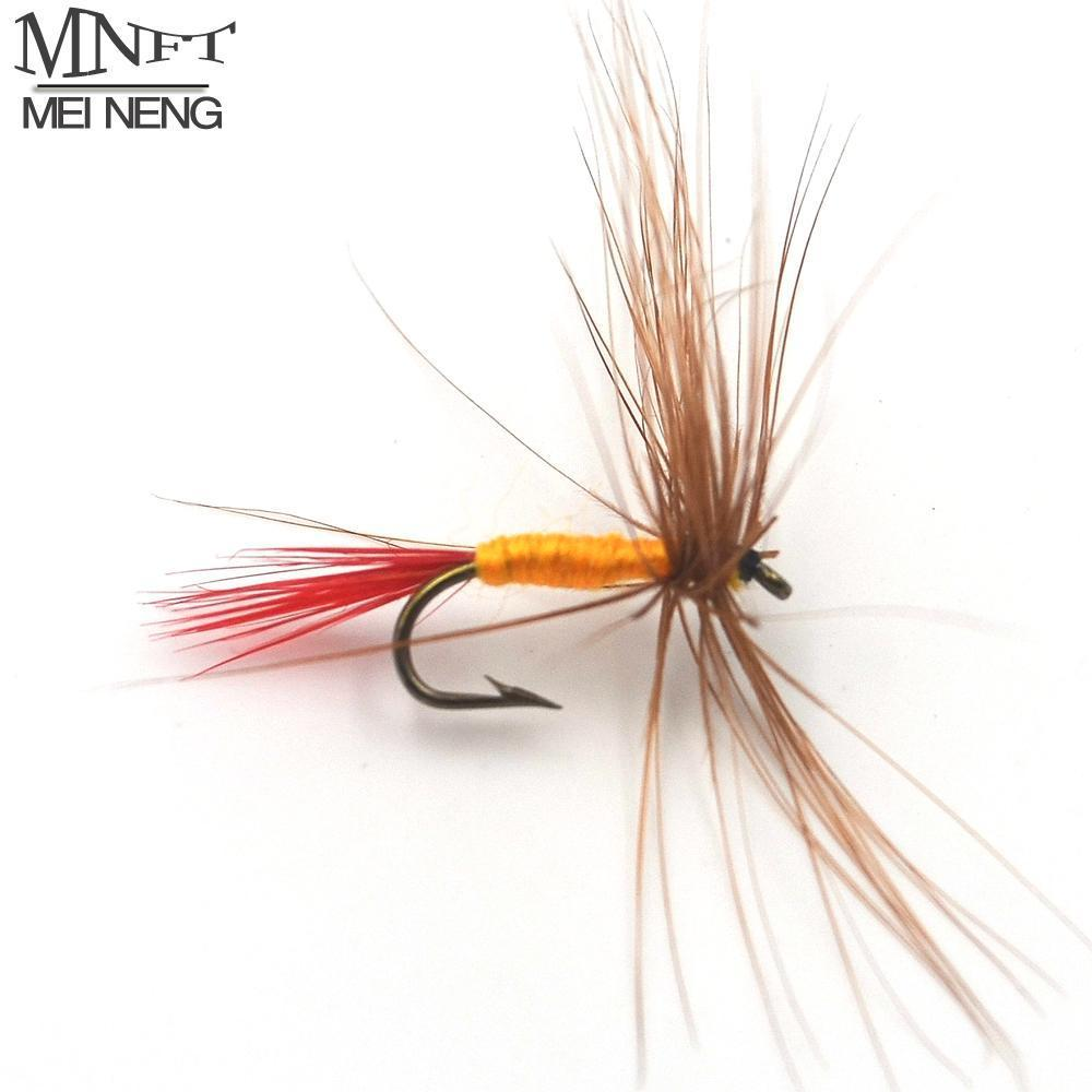 Mnft 10Pcs 12# Brown Hackle Red Tail May Fly Nymph Fresh Water Dry Fly Hooks-Flies-Bargain Bait Box-10Pcs In Bag-Bargain Bait Box