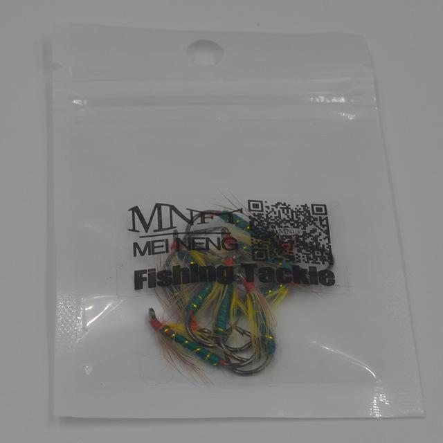 Mnft 10Pcs 6# Trout Fishing Wet Fly Green Body Gold Line Wrapped Barbed Hooks-Flies-Bargain Bait Box-10pcs in bag-Bargain Bait Box