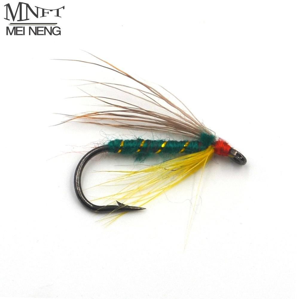Mnft 10Pcs 6# Trout Fishing Wet Fly Green Body Gold Line Wrapped Barbed Hooks-Flies-Bargain Bait Box-10pcs in box-Bargain Bait Box