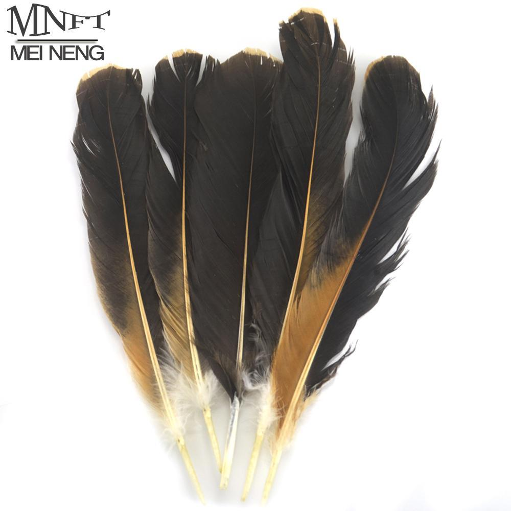 Mnft 10Pcs/Bag Chicken Wing Feathers Rooster Natural Black & Brown Plume Fly-Fly Tying Materials-Bargain Bait Box-Bargain Bait Box