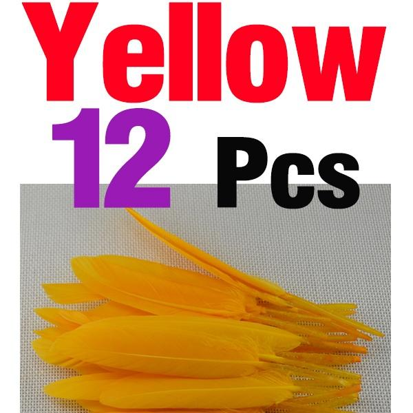 Mnft 12Pcs Beautiful Goose Feather Nymph Tail Wing Fly Tying Material-Fly Tying Materials-Bargain Bait Box-12Pcs Yellow-Bargain Bait Box
