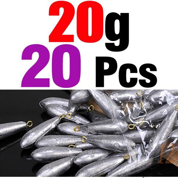 Mnft 20Pcs Per Lot Weight Size 10G/ 20G/ 30G/ 40G/ 50G/ 60G Water Droplets-Dropshot Weights-Bargain Bait Box-20pcs 20g-Bargain Bait Box