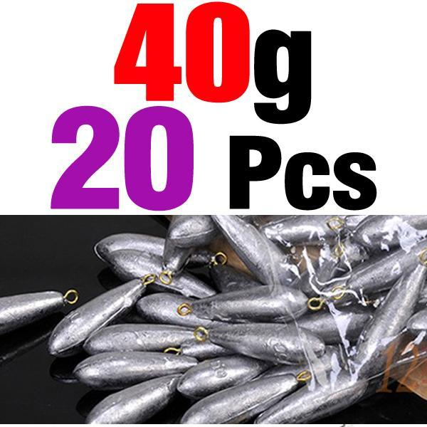 Mnft 20Pcs Per Lot Weight Size 10G/ 20G/ 30G/ 40G/ 50G/ 60G Water Droplets-Dropshot Weights-Bargain Bait Box-20pcs 40g-Bargain Bait Box