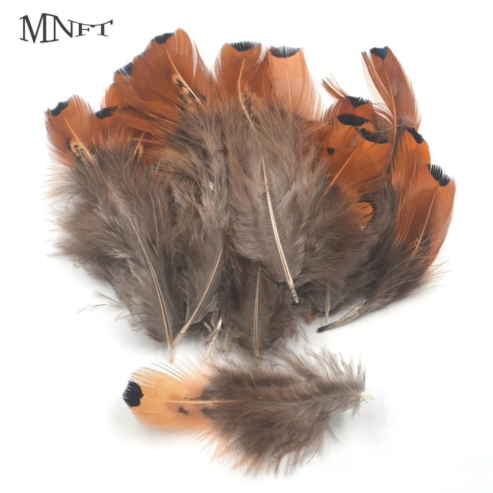 Mnft 50Pcs Small Black Dot End Brown Color Tail Wing Feather Fly Fishing Natural-Fly Tying Materials-Bargain Bait Box-Bargain Bait Box
