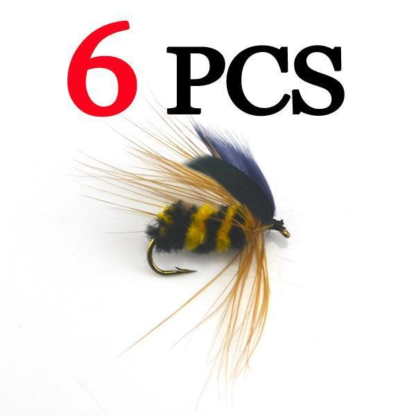Mnft 6Pcs #10 Black & Yellow Bumble Bee Fly Fishing Bass Trout Insect Lure Dry-MNFT Fishing Tackle 12 Store-Bargain Bait Box