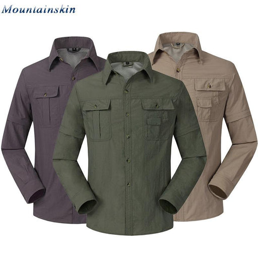 Mountainskin Quick Dry Outdoor Men'S Summer Shirts Breathable Removable Sports-Mountainskin Outdoor-Khaki-S-Bargain Bait Box