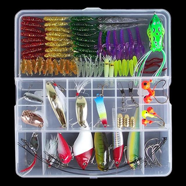 Multi Fishing S Metal Spoon Bait Soft Kit Popper Frog Fish Hooks S-Mixed Combos & Kits-Bargain Bait Box-100Pcs Lure Set-Bargain Bait Box