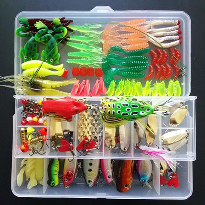 Multi Fishing S Metal Spoon Bait Soft Kit Popper Frog Fish Hooks S-Mixed Combos & Kits-Bargain Bait Box-132Pcs Lure Set-Bargain Bait Box