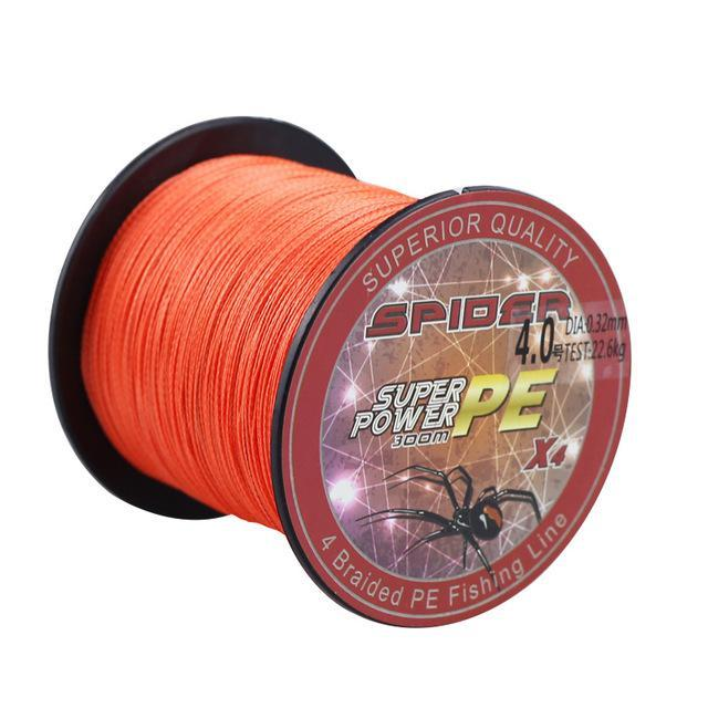 Multifilament Pe Braided Line 4 Weaves Fishing Line 300M 8-60Lb Fishing-Tackle-CC Fishing Tackle's Store-Orange-0.4-Bargain Bait Box