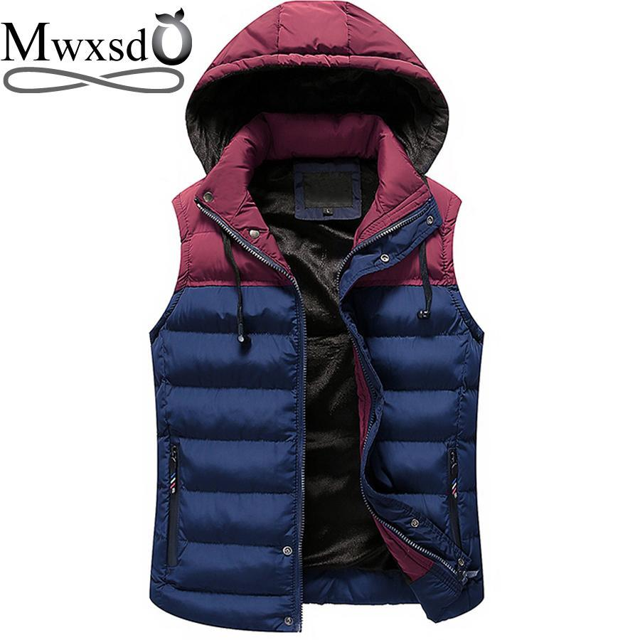 Mwxsd Men Hooded Vest Warm Thick Sleeveless Cotton Waist Male Gilet Homme Men-Vests-Bargain Bait Box-01-M-Bargain Bait Box