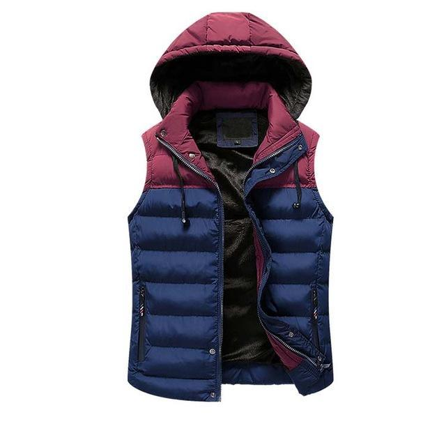 Mwxsd Men Hooded Vest Warm Thick Sleeveless Cotton Waist Male Gilet Homme Men-Vests-Bargain Bait Box-02-M-Bargain Bait Box