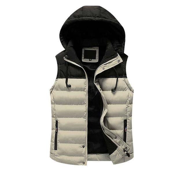 Mwxsd Men Hooded Vest Warm Thick Sleeveless Cotton Waist Male Gilet Homme Men-Vests-Bargain Bait Box-03-M-Bargain Bait Box