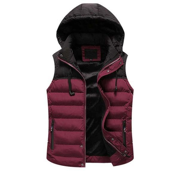 Mwxsd Men Hooded Vest Warm Thick Sleeveless Cotton Waist Male Gilet Homme Men-Vests-Bargain Bait Box-04-M-Bargain Bait Box