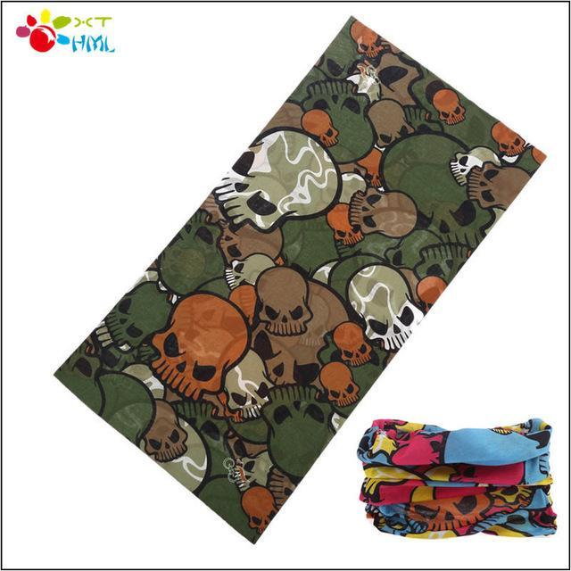 Neck Face Mask Skull Motorcycle Seamless Bandana Kerchief Tubular Headband Multi-Face Shields-Bargain Bait Box-Gray-Bargain Bait Box