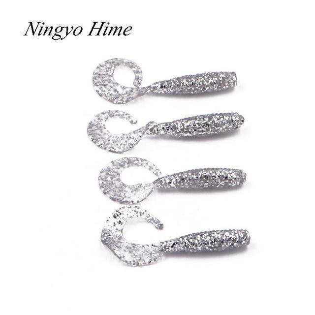 Ningyohime4Pcs Bass Fishing 6Cm1.8G Single Tail Maggots Soft Plastic Worm Maggot-Worms & Grubs-Bargain Bait Box-E-Bargain Bait Box