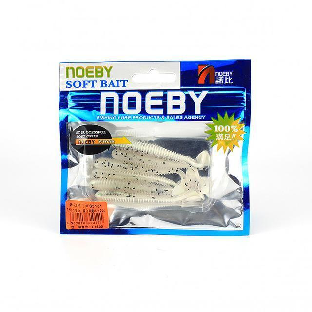 Noeby 5 Pcs/Lot Soft Lure 87.5Mm/5G T-Tail Fishing Lures Soft Worm Swimbait-BassBros Fishing Tackle Store-NW204-Bargain Bait Box