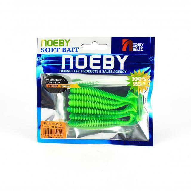 Noeby 5 Pcs/Lot Soft Lure 87.5Mm/5G T-Tail Fishing Lures Soft Worm Swimbait-BassBros Fishing Tackle Store-NW205-Bargain Bait Box