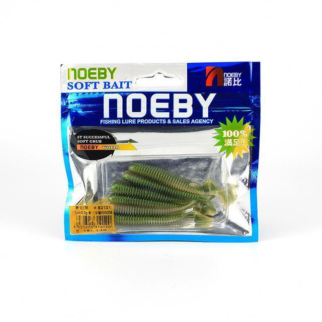 Noeby 5 Pcs/Lot Soft Lure 87.5Mm/5G T-Tail Fishing Lures Soft Worm Swimbait-BassBros Fishing Tackle Store-NW206-Bargain Bait Box