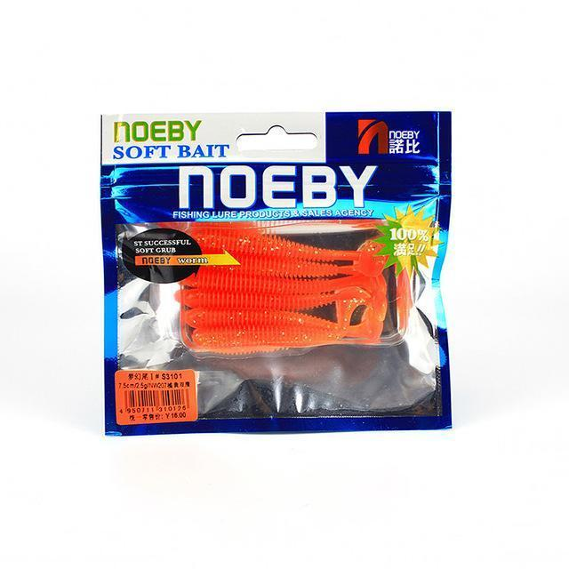 Noeby 5 Pcs/Lot Soft Lure 87.5Mm/5G T-Tail Fishing Lures Soft Worm Swimbait-BassBros Fishing Tackle Store-NW207-Bargain Bait Box