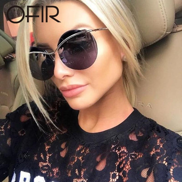 Ofir Fashion Sunglasses Women Rimless Round Style Eyebrow Sun Glasses-Sunglasses-RS Glasses Store-1-Bargain Bait Box