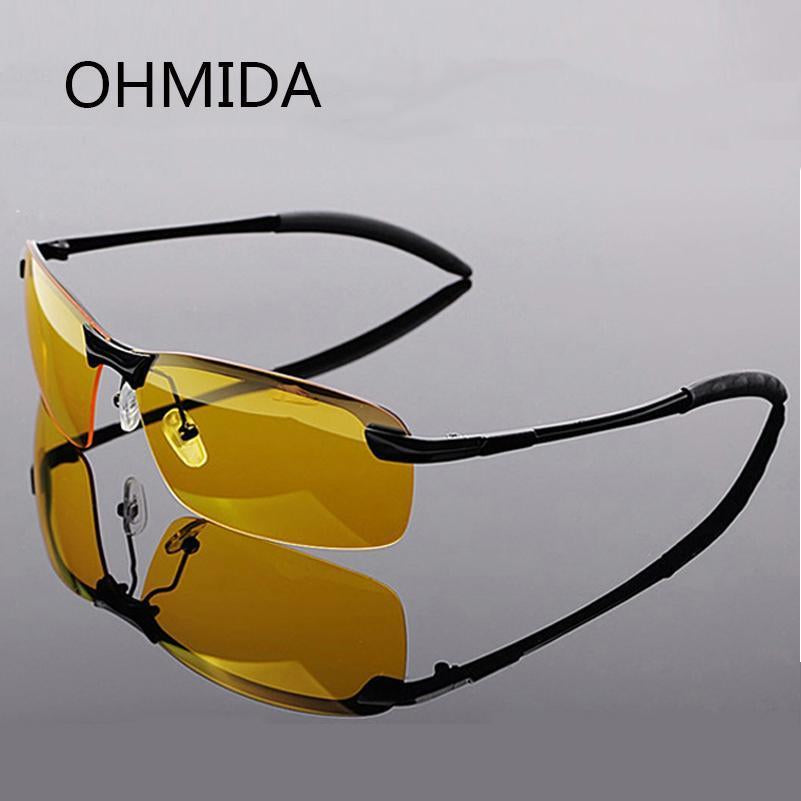Ohmida Aluminum-Magnesium Driving Glasses Male Drivers Night Vision Goggles-Polarized Sunglasses-Bargain Bait Box-black frame-Bargain Bait Box