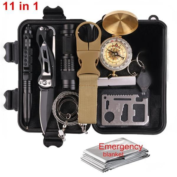 Outdoor Survival Kit Set Camping Travel Multifunction First Aid Sos Edc-Survival Kits-OutdoorOK Store-11 in 1 survival-Bargain Bait Box