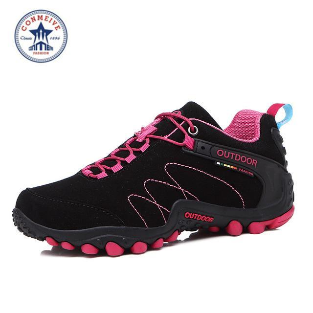 Outdoor Trekking Hiking Shoes Sapatilhas Climbing Leather Camping Senderismo-GUIZHE Store-Black rose Woman-5-Bargain Bait Box