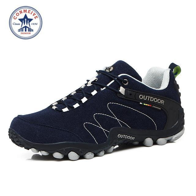 Outdoor Trekking Hiking Shoes Sapatilhas Climbing Leather Camping Senderismo-GUIZHE Store-Blue man-5-Bargain Bait Box