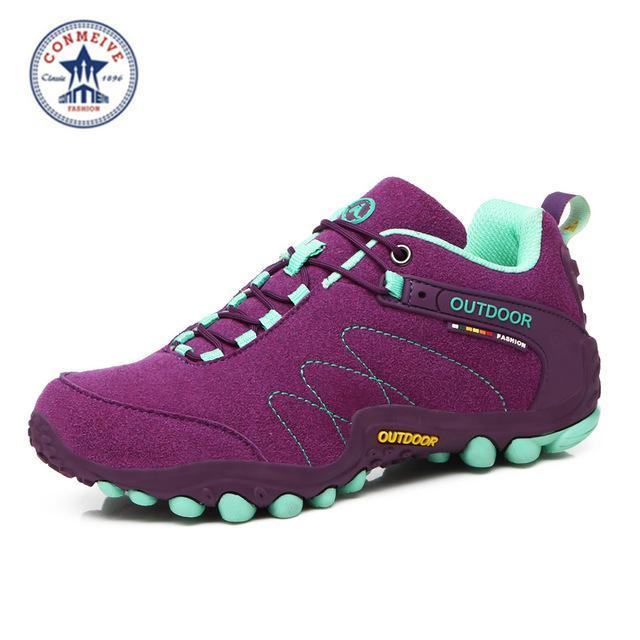 Outdoor Trekking Hiking Shoes Sapatilhas Climbing Leather Camping Senderismo-GUIZHE Store-Purple Woman-5-Bargain Bait Box