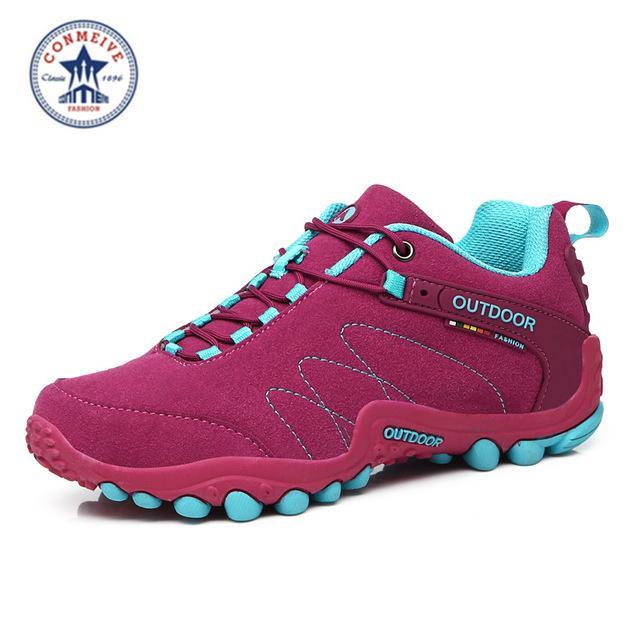 Outdoor Trekking Hiking Shoes Sapatilhas Climbing Leather Camping Senderismo-GUIZHE Store-Rose Woman-5-Bargain Bait Box