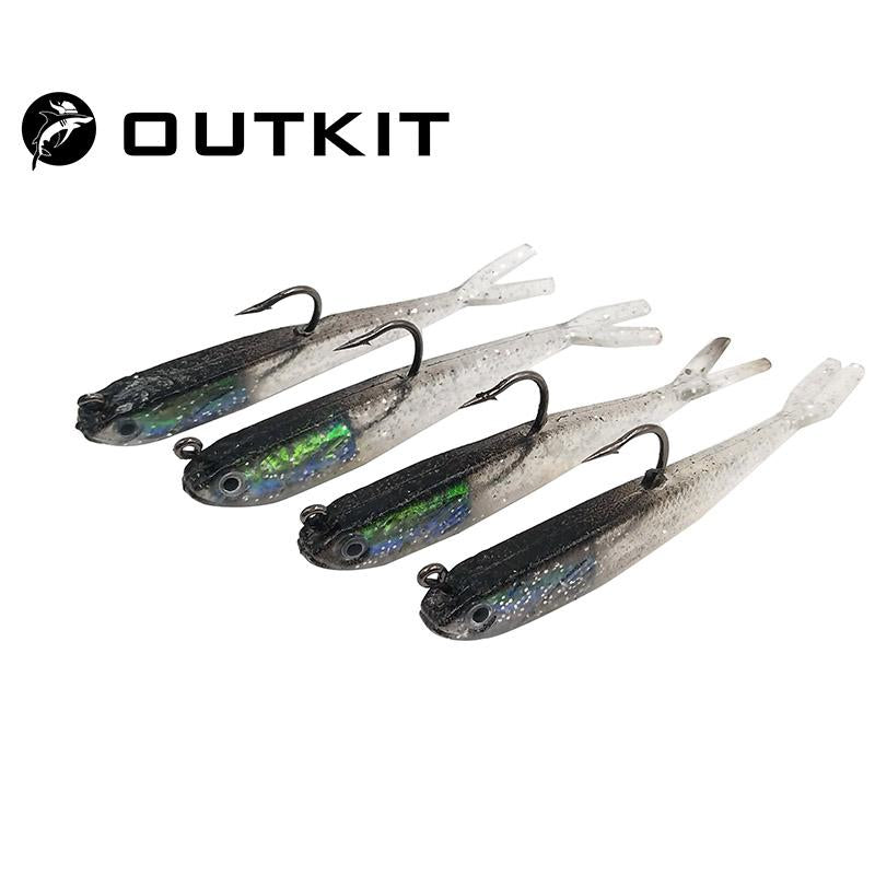 Outkit 4Pcs/Lot 7Cm 6G Soft Silicone Bait Fishing Lure Lead Jig Head Fish Tackle-Rigged Plastic Swimbaits-OUTKIT VikingFishing Store-Bargain Bait Box