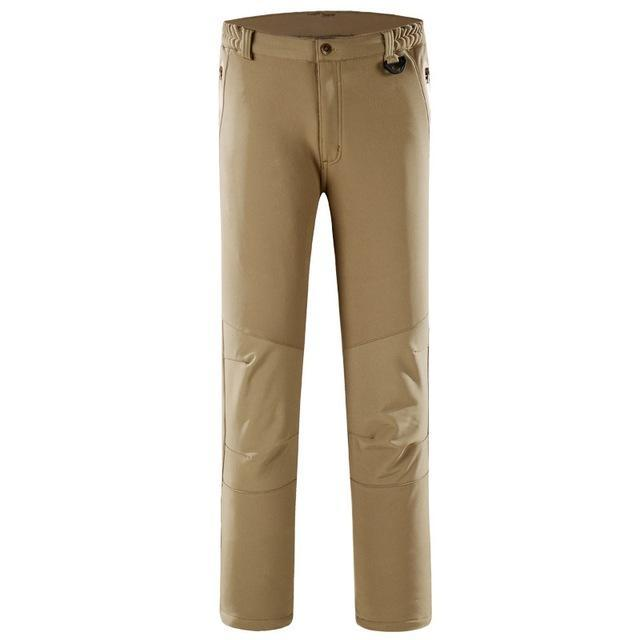 Pants Men Sports Trekking Overalls Trousers Climbing Fishing Waterproof Fleece-Pants-Bargain Bait Box-Khaki-S-Bargain Bait Box