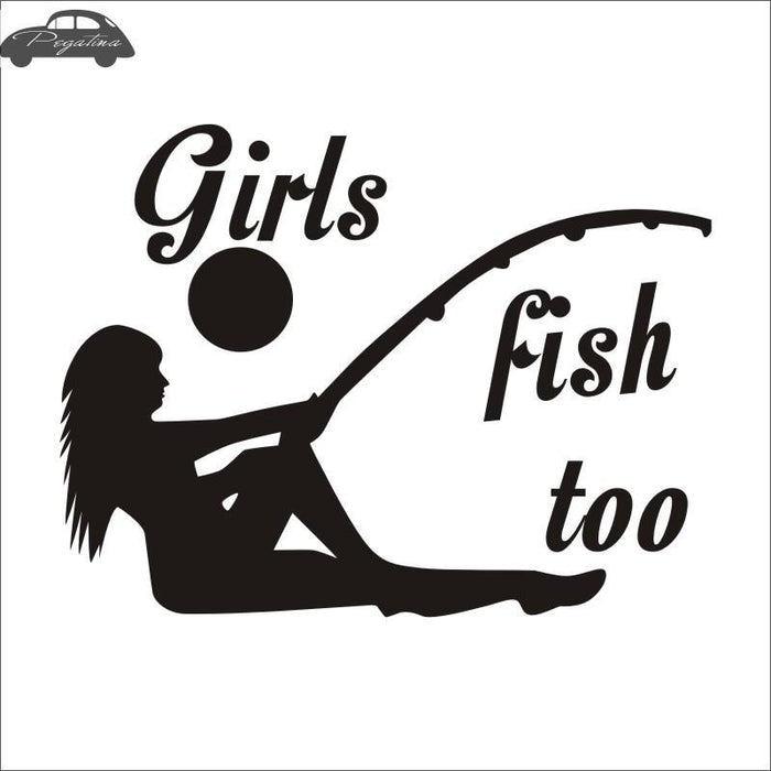 Pegatina Girl Fish Hunter Decal Angling Hollow Sticker Fishing Boat Car Window-Fishing Decals-Bargain Bait Box-Black-58x79cm-Bargain Bait Box