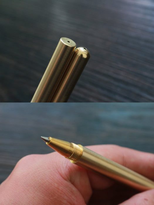 Pencil Retro Brass Gold Pen Pure Metal Pen By Hand Tactical Pen Copper Gift-NanYou Outdoor Camping Supplies Store-Long Light-Bargain Bait Box