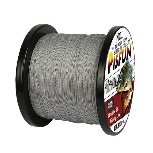 Pisfun Brand 4X Braided Fishing Line 500M Strong Multifilament Fishing Line 12Lb-Goture Fishing Store-Light Grey-0.6-Bargain Bait Box